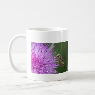 Hoverfly en la taza de la flor