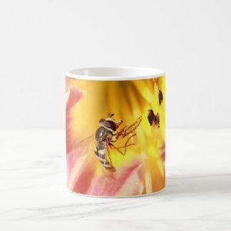 hoverfly en lirio rosado taza