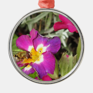hoverfly resting metal ornament