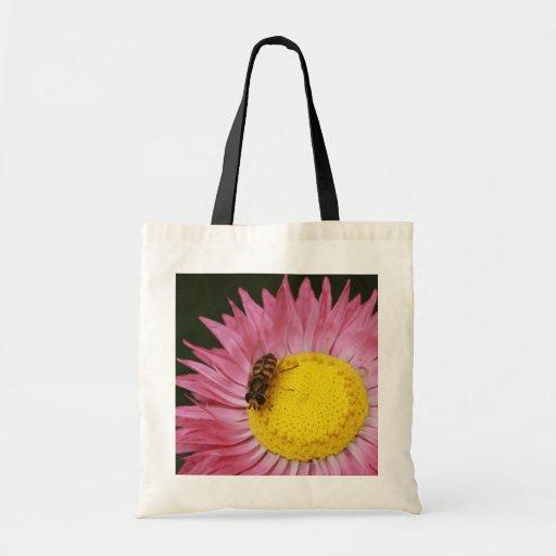 Hoverfly y bolso de la flor bolsa lienzo