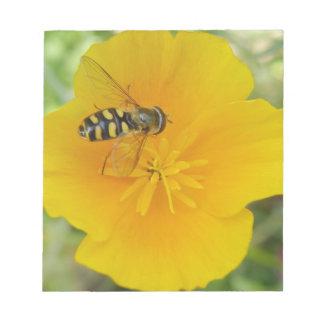 Hoverfly y libreta californiana de la amapola bloc de papel