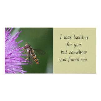 Hoverfly y tarjeta de la foto de la flor tarjetas personales