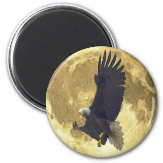 Hovering BALD EAGLE & FULL MOON Wildlife Magnet