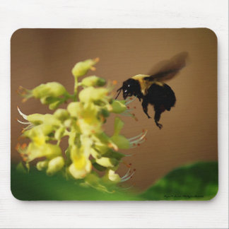Hovering Bumblebee Watercolor Style Mousepad Art