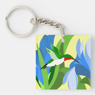 Hovering Hummingbird and Blue Flowers Double-Sided Square Acrylic Keychain