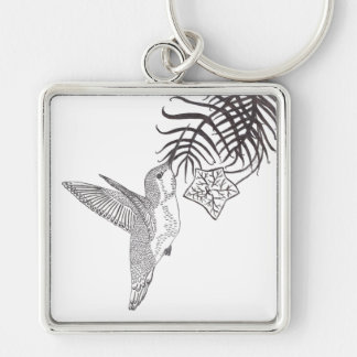 Hovering Hummingbird And Cypress Vine Sketch Keychains