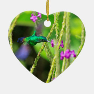 Hovering Hummingbird Blur Ceramic Ornament