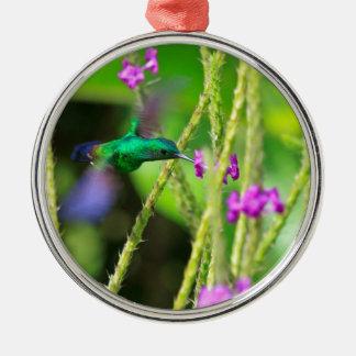 Hovering Hummingbird Blur Metal Ornament
