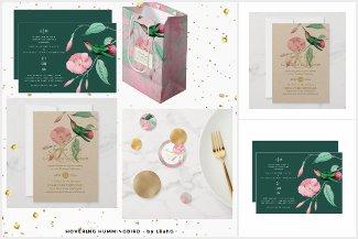 Hovering Hummingbird - Mint Green Pink Wedding