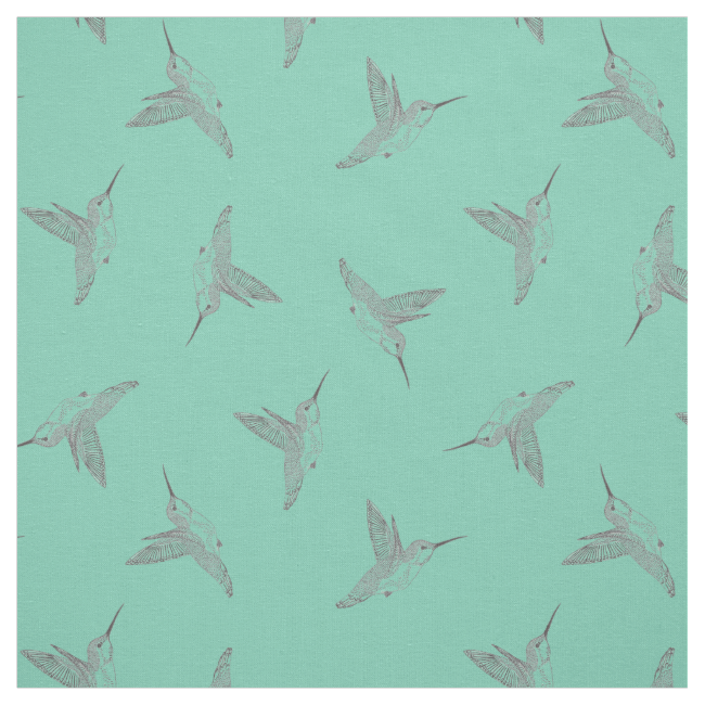 Hovering Hummingbird Mint Green Tossed Print Fabric