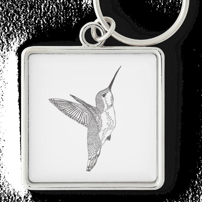 Hovering Hummingbird Sketch Key Chain