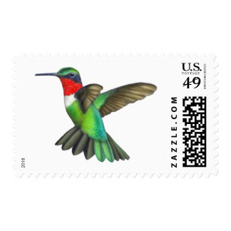 Hovering Male Ruby Throated Hummingbird Postage