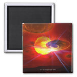 Hovering UFOs 2 Inch Square Magnet