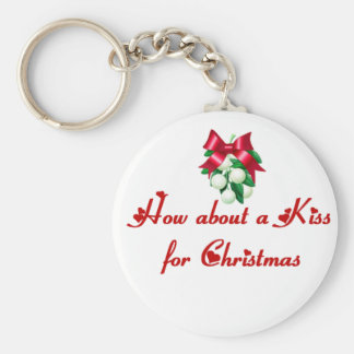 How About A Kiss For Christmas Basic Round Button Keychain