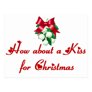 How About A Kiss For Christmas Postcard
