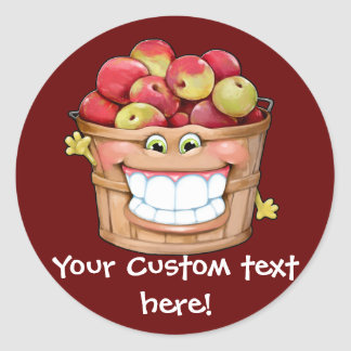 How about them apples?!  Happy Apples! Classic Round Sticker