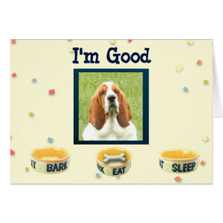"""How are things"" Greeting Card with basset"