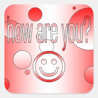 How are You? Canada Flag Colors Pop Art Square Sticker