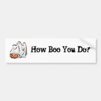How Boo You Do Friendly Ghost Pumpkin Design Bumper Stickers