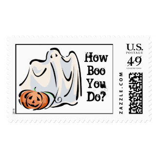 How Boo You Do Friendly Ghost Pumpkin Design Postage