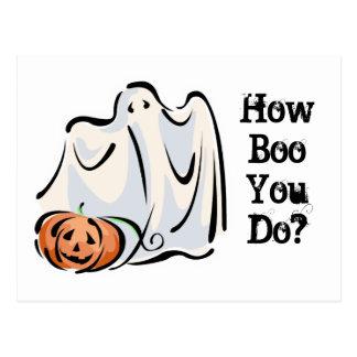 How Boo You Do Friendly Ghost Pumpkin Design Postcard