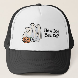 How Boo You Do Friendly Ghost Pumpkin Design Trucker Hat