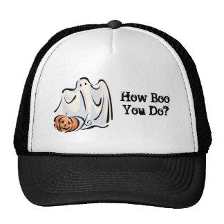 How Boo You Do Friendly Ghost Pumpkin Design Trucker Hat