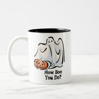 How Boo You Do Friendly Ghost Pumpkin Design Two-Tone Coffee Mug