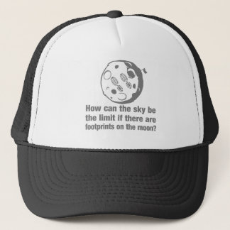How can the sky ... limit footprints on the moon? trucker hat