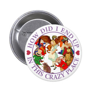 HOW DID I END UP IN THIS CRAZY PLACE PINBACK BUTTON