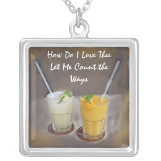 How Do I Love Thee Square Pendant Necklace