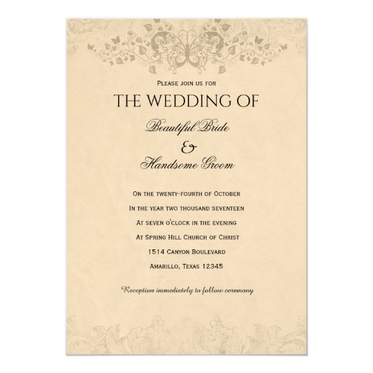 Vintage Love Poem Wedding Invitation
