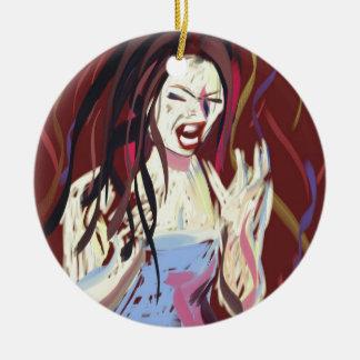 How I felt last week digital art, rage and despair Ceramic Ornament