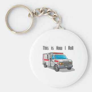 How I Roll Ambulance Basic Round Button Keychain