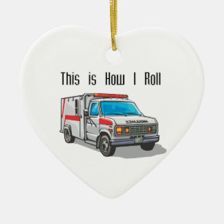 How I Roll Ambulance Double-Sided Heart Ceramic Christmas Ornament