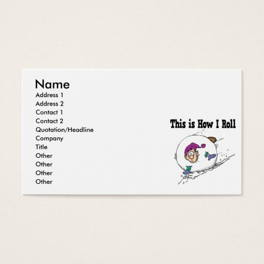 How I Roll Big Snowball Business Card
