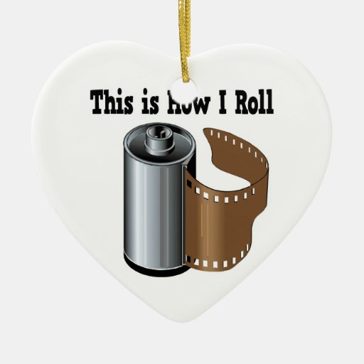 How I Roll Camera Film Double-Sided Heart Ceramic Christmas Ornament