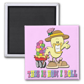 How I Roll Easter Chick 2 Inch Square Magnet