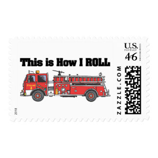 How I Roll Fire Engine Truck Postage Stamp