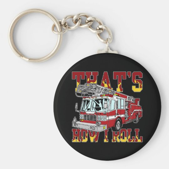 How I Roll Fire Truck Keychain