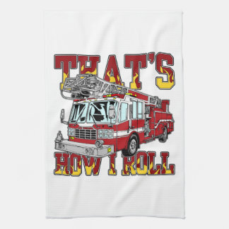 How I Roll Fire Truck Kitchen Towel