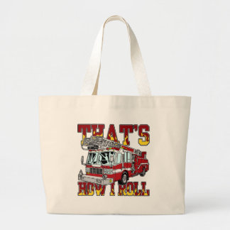How I Roll Fire Truck Large Tote Bag