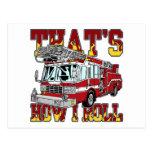How I Roll Fire Truck Postcard
