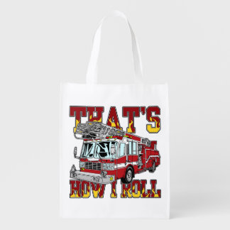 How I Roll Fire Truck Reusable Grocery Bag