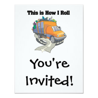 How I Roll (Garbage Truck) 4.25x5.5 Paper Invitation Card