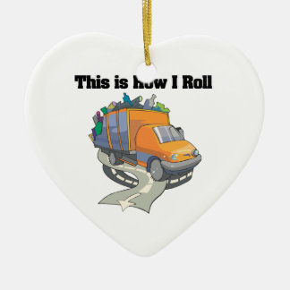 How I Roll (Garbage Truck) Double-Sided Heart Ceramic Christmas Ornament