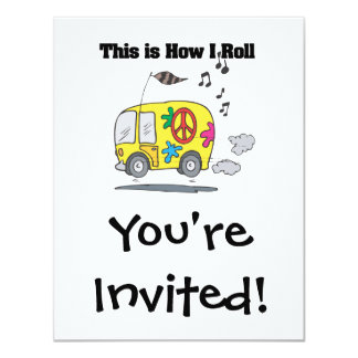 How I Roll (Hippie Van) 4.25x5.5 Paper Invitation Card