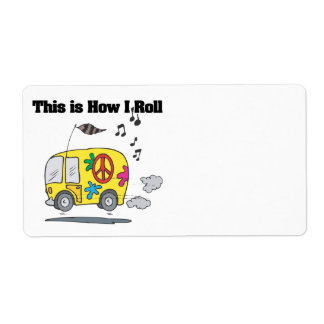 How I Roll (Hippie Van) Shipping Label