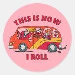 How I Roll Mom Minivan Round Sticker