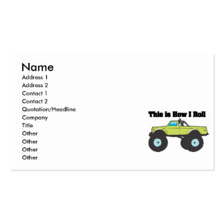 How I Roll (Monster Truck) Business Card Template